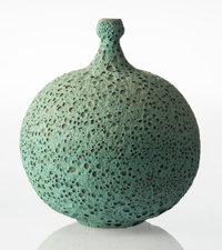 James Lovera (American, 1920-2015) Bottle Vase, circa 1975 Glazed earthenware 12-1/8 x 10-3/4 inc