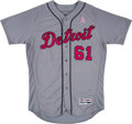Baseball Collectibles:Uniforms, 2017 Shane Greene Game Worn Detroit Tigers Mother's Day Jersey. ...