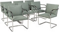Furniture, Ludwig Mies van der Rohe (German, 1886-1969). Eight Brno Chairs, designed 1930, of recent production, Knoll. Stainless s... (Total: 8 Items)