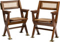 Furniture , Pierre Jeanneret (Swiss, 1896-1967. Pair of Cinema Chairs from the Tagore Theatre, Chandigarh, circa 1960. Teak, cane, b... (Total: 2 Items)