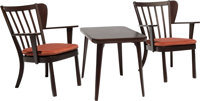 Søren Hansen (Danish, 1905-1977) and Hans J. Wegner (Danish, 1914-2007) Two Easy Chairs and Low Table from the...