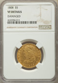 Early Half Eagles, 1808/7 $5 Close Date, BD-2, High R.4 -- Damaged -- NGC Details. VF....