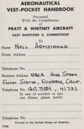 "Explorers:Space Exploration, Neil Armstrong's Personal ""Aeronautical Vest-Pocket Handbook"" by Pratt & Whitney, with His Name and NACA Information Written a..."