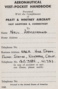 """Neil Armstrong's Personal """"Aeronautical Vest-Pocket Handbook"""" by Pratt & Whitney, with His Name and NACA I..."""