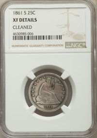 1861-S 25C -- Cleaned -- NGC Details. XF. Briggs 1-A....(PCGS# 5455)