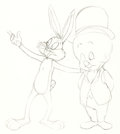 Animation Art:Production Drawing, Bugs Bunny and Elmer Fudd Animation Drawing (Warner Brothers,1960s).... (Total: 2 Original Art)