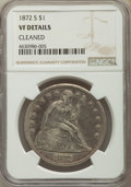 Seated Dollars, 1872-S $1 -- Cleaned -- NGC Details. VF. NGC Census: (4/98). PCGS Population: (7/209). CDN: $1,000 Whsle. Bid for problem-f...