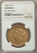 Liberty Double Eagles, 1868-S $20 -- Reverse Rim Filed -- NGC Details. XF. NGC Census: (84/1382). PCGS Population: (65/612). CDN: $1,325 Whsle. Bi...