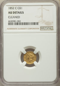 1852-C G$1 -- Cleaned -- NGC Details. AU. NGC Census: (9/131). PCGS Population: (14/73). CDN: $1,600 Whsle. Bid for prob...