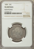 Early Quarters, 1804 25C B-1, R.3 -- Scratches -- NGC Details. VG....