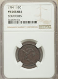 1794 1/2 C -- Scratches -- NGC Details. VF. NGC Census: (0/0). PCGS Population: (32/237). VF20. Mintage 81,600. From T...
