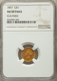 1867 G$1 -- Cleaned -- NGC Details. AU. NGC Census: (1/60). PCGS Population: (2/74). CDN: $650 Whsle. Bid for problem-fr...
