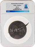 "Explorers:Space Exploration, NASA: Beautiful Silvered ""Meatball"" Vector Logo MS62 NGC Table Medal Directly From The Armstrong Family Collection™, Certi..."