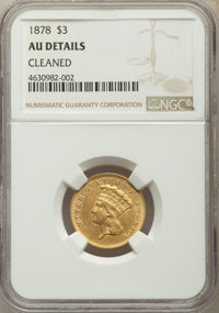 1878 $3 -- Cleaned -- NGC Details. AU. NGC Census: (73/5169). PCGS Population: (218/5781). AU50. Mintage 82,304. From...