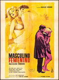"Movie Posters:Foreign, Masculine, Feminine (Columbia, 1968). Mexican One Sheet (27"" X 37""). Foreign.. ..."