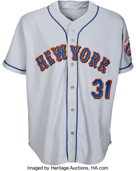 best loved bf4b4 855c4 2001 Mike Piazza Game Worn New York Mets Jersey - Great ...
