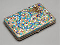 Decorative Arts, Continental:Other , A Russian Silver and Cloisonné Enamel Cigarette Case. 4 x 2-3/4 x5/8 inches (10.2 x 7.0 x 1.6 cm). 6.0 ounces (gross)...