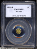 California Fractional Gold: , 1855/4 25C Liberty Octagonal 25 Cents, BG-106, R.3, MS62 PCGS. Theradiant yellow-gold surfaces have a dash of rose hues. A...