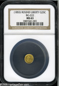 California Fractional Gold: , Undated 25C Liberty Round 25 Cents, BG-222, R.2, MS63 NGC. Thisgreenish-gold example has a typical strike and attractive f...