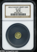 California Fractional Gold: , 1853 50C Liberty Round 50 Cents, BG-409, R.3, AU58 NGC. Yellow-goldsurfaces retain nice luster, and display some minor han...