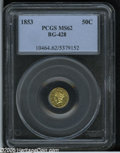 California Fractional Gold: , 1853 50C Liberty Round 50 Cents, BG-428, R.3, MS62 PCGS. Lustrousand attractive for the grade, this straw-gold piece has a...