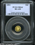 California Fractional Gold: , 1853 50C Liberty Round 50 Cents, BG-430, R.3, MS64 PCGS. Aspectacular prooflike coin whose obverse fields are concave from...