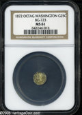 California Fractional Gold: , 1872 25C Washington Octagonal 25 Cents, BG-723, Low R.6, MS61 NGC.Large date, berries on wreath. Bright yellow-gold surfa...