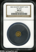 California Fractional Gold: , 1865 25C Liberty Round 25 Cents, BG-822, R.4, MS62 NGC. Deepgolden-orange coloration....