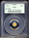 California Fractional Gold: , 1871 25C Liberty Round 25 Cents, BG-841, R.4, MS62 PCGS. Originalpeach and apricot colors embrace this typically struck an...
