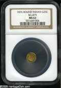 California Fractional Gold: , 1876 25C Indian Round 25 Cents, BG-879, R.4, MS63 NGC. Bright,flashy prooflike fields....