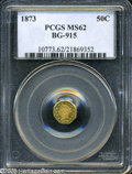California Fractional Gold: , 1873 50C Liberty Octagonal 50 Cents, BG-915, Low R.4, MS62 PCGS.Greenish-gold patina and some uneven striking. the fields ...