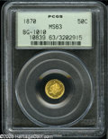 """California Fractional Gold: , 1870 50C Liberty Round 50 Cents, BG-1010, R.3, MS63 PCGS. Frontier& Co. """"Broad Head,"""" the reverse shows a crude 1 2 withou..."""