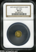 California Fractional Gold: , 1875 50C Indian Round 50 Cents, BG-1056, High R.4, MS62 PCGS.Attractive coloration and prooflike, as always, a number of s...