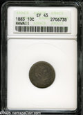 Coins of Hawaii: , 1883 10C Hawaii Ten Cents XF45 ANACS. Blended dove-gray andsea-green colors envelop this lightly circulated and relatively...