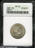 Coins of Hawaii: , 1883 25C Hawaii Quarter MS62 ANACS. Light gray-gold color visitsthe borders of this lustrous piece. The obverse field has ...