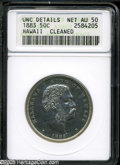 Coins of Hawaii: , 1883 50C Hawaii Half Dollar--Cleaned--ANACS. Unc Details, Net AU50.An interesting coin from the state of Hawaii, issued on...