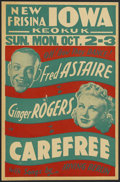 "Movie Posters:Musical, Carefree (RKO, 1938). Locally Produced Window Card (17"" X 26"").Musical...."
