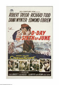 """Movie Posters:War, D-Day The Sixth of June (20th Century Fox, 1956). One Sheet (27"""" X41""""). This is a vintage, theater-used poster for this war..."""