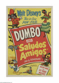 "Movie Posters:Animated, Dumbo/Saludos Amigos Combo (RKO, R-1949). One Sheet (27"" X 41"").This is a vintage, theater-used poster for this animated do..."