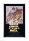 """Movie Posters:Science Fiction, The Empire Strikes Back (20th Century Fox, R-1981). One Sheet (27""""X 41""""). This is a folded, vintage, theater-used poster fo..."""