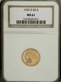 Indian Quarter Eagles: , 1925-D $2 1/2 MS61 NGC. NGC Census: (2027/11040). PCGS Population(1078/7563). Mintage: 578,000. Numismedia Wsl. Price for ...