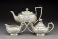 Silver Holloware, American:Tea Sets, A Baltimore Sterling Silver Co. Silver Floral Repoussé Creamer andSugar with Associated Teapot, Baltimore, Maryland, circa ...(Total: 3 Items)