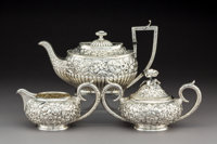 A Baltimore Sterling Silver Co. Silver Floral Repoussé Creamer and Sugar with Associated Teapot, Baltimore, Maryl...