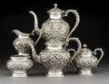 Silver & Vertu:Hollowware, A Five-Piece S. Kirk & Son Repoussé Pattern Silver Tea and Coffee Service, Baltimore, Maryland, early 20th centu... (Total: 5 Items)