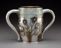 Silver & Vertu:Hollowware, A Gorham Mfg. Co. Aesthetic Movement Partial Gilt Silver and Mixed Metals Two-Handled Cup with Applied Decoration, Providenc...