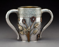 A Gorham Mfg. Co. Aesthetic Movement Partial Gilt Silver and Mixed Metals Two-Handled Cup with Applied Decoration, Pr