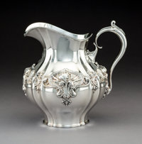 A Whiting Art Nouveau Silver Water Pitcher with Iris Motif, New York, circa 1900 Marks: (W-griffin), STERLING