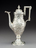 Silver Holloware, American:Coffee Pots, An S. Kirk & Son Coin Silver Coffee Pot with Repoussé LandscapeMotifs, circa 1890. Marks: S KIRK & SON, 11 OZ. 13inche...