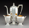 Silver Holloware, American:Coffee Pots, A Three-Piece Reed & Barton Pointed Antique PatternPartial Gilt Silver Demitasse Set, Taunton, Massachusetts, d...(Total: 3 Items)