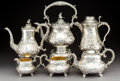 Silver & Vertu:Hollowware, An Assembled Five-Piece English Partial Gilt Silver and Repoussé Tea and Coffee Service with Bird-Form Finials, London and S... (Total: 7 Items)